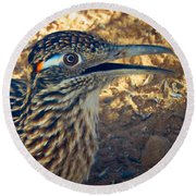 Roadrunner Portrait Round Beach Towel