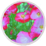 Round Beach Towel featuring the photograph Roadside Flowers by Tom Singleton