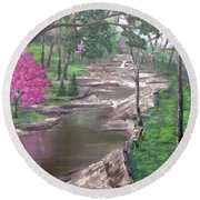 Roadside Park 1  Round Beach Towel by T Fry-Green