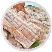 Round Beach Towel featuring the photograph Roadside Sandstone In Valley Of Fire by Ray Mathis