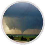 Round Beach Towel featuring the photograph Roadside Twister by Ed Sweeney