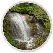 Round Beach Towel featuring the photograph Roadside Waterfall In North Carolina by Mike McGlothlen