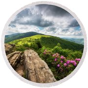 Roan Mountain Radiance Appalachian Trail Nc Tn Mountains Round Beach Towel