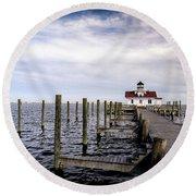 Roanoke Lighthouse - Manteo North Carolina Round Beach Towel