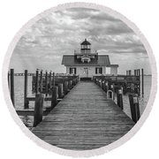 Roanoke Marshes Light Round Beach Towel