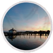 Roanoke Marshes Lighthouse At Dusk Round Beach Towel
