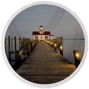Roanoke Marshes Lighthouse Round Beach Towel