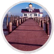 Round Beach Towel featuring the photograph Roanoke Marshes Lighthouse by Penny Lisowski