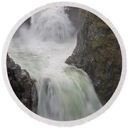 Round Beach Towel featuring the photograph Roaring River by Randy Hall