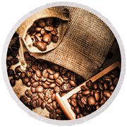 Roasted Coffee Beans In Drawer And Bags On Table Round Beach Towel
