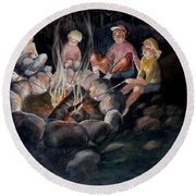 Roasting Marshmallows Round Beach Towel by Marilyn Jacobson