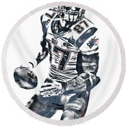 Rob Gronkowski New England Patriots Pixel Art 2 Round Beach Towel by Joe Hamilton
