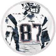 Rob Gronkowski New England Patriots Pixel Art 3 Round Beach Towel by Joe Hamilton