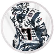 Rob Gronkowski New England Patriots Pixel Art 4 Round Beach Towel by Joe Hamilton