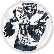 Rob Gronkowski New England Patriots Pixel Art 5 Round Beach Towel by Joe Hamilton