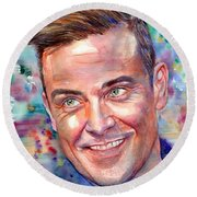 Robbie Williams Portrait Round Beach Towel
