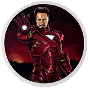 Robert Downey Jr. As Iron Man  Round Beach Towel