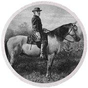 Robert E Lee On His Horse Traveler Round Beach Towel
