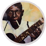Robert Johnson Plays The Blues Round Beach Towel by Dan Sproul