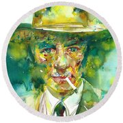 Round Beach Towel featuring the painting Robert Oppenheimer - Watercolor Portrait.2 by Fabrizio Cassetta
