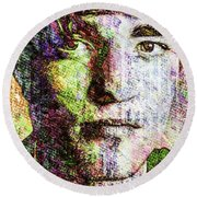Round Beach Towel featuring the mixed media Robert Pattinson by Svelby Art