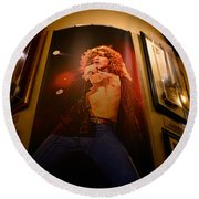 Robert Plant At The Hard Rock Round Beach Towel by David Lee Thompson