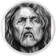Robert Plant Round Beach Towel by Greg Joens