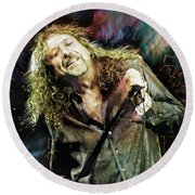 Robert Plant Round Beach Towel by Mal Bray