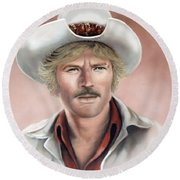 Round Beach Towel featuring the painting Robert Redford by Loxi Sibley