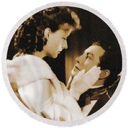 Robert Taylor And Greta Garbo Round Beach Towel