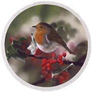 Robin And Berries Round Beach Towel