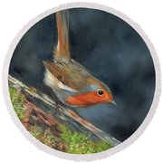 Round Beach Towel featuring the painting Robin by David Stribbling
