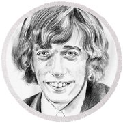 Robin Gibb Drawing Round Beach Towel