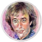 Robin Gibb Portrait Watercolor Round Beach Towel