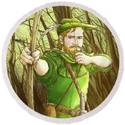 Robin  Hood In Sherwood Forest Round Beach Towel by Reynold Jay