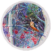 Robin In The Crab Apple Trees Sketch Round Beach Towel