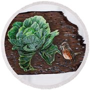 Robin In The Gardin Round Beach Towel by Judy Kirouac