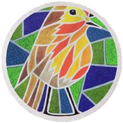 Robin On Stained Glass Round Beach Towel