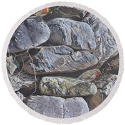 Round Beach Towel featuring the painting Robins by Alan M Hunt