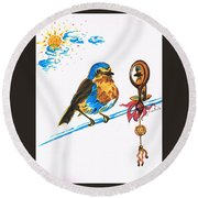 Robins Day Tasks Round Beach Towel by Teresa White