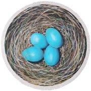 Robin's Eggs Round Beach Towel