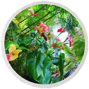 Robins Garden With Anthuriums And Ferns Round Beach Towel