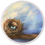 Robin's Two Eggs Round Beach Towel