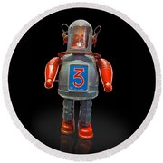 Robo Space Toys Knockout On Black Round Beach Towel by Gary Warnimont