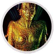 Robot Of Metropolis Round Beach Towel