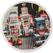 Robots Of Retro Cool Round Beach Towel