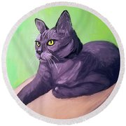 Robyn Date With Paint Mar 19 Round Beach Towel