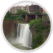 Round Beach Towel featuring the photograph Rochester, New York - High Falls 2 by Frank Romeo