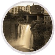 Round Beach Towel featuring the photograph Rochester, New York - High Falls 2 Sepia by Frank Romeo