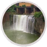 Round Beach Towel featuring the photograph Rochester, New York - High Falls by Frank Romeo